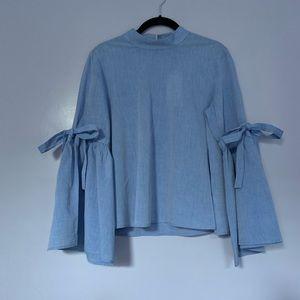 Zara Bell Sleeve Mandarin Collar Blue Top Medium